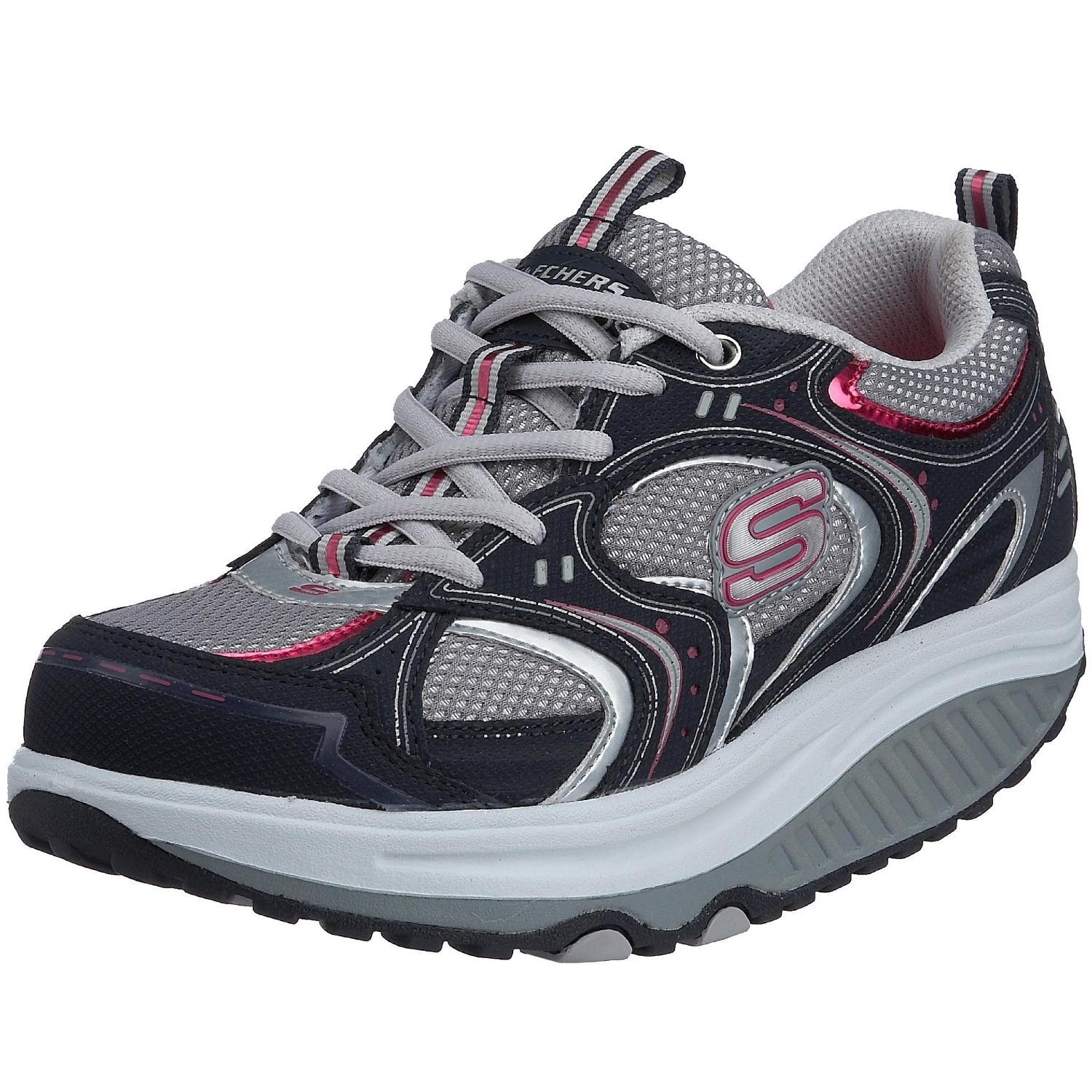 skechers women 39 s shape ups navy action packed trainers ebay. Black Bedroom Furniture Sets. Home Design Ideas