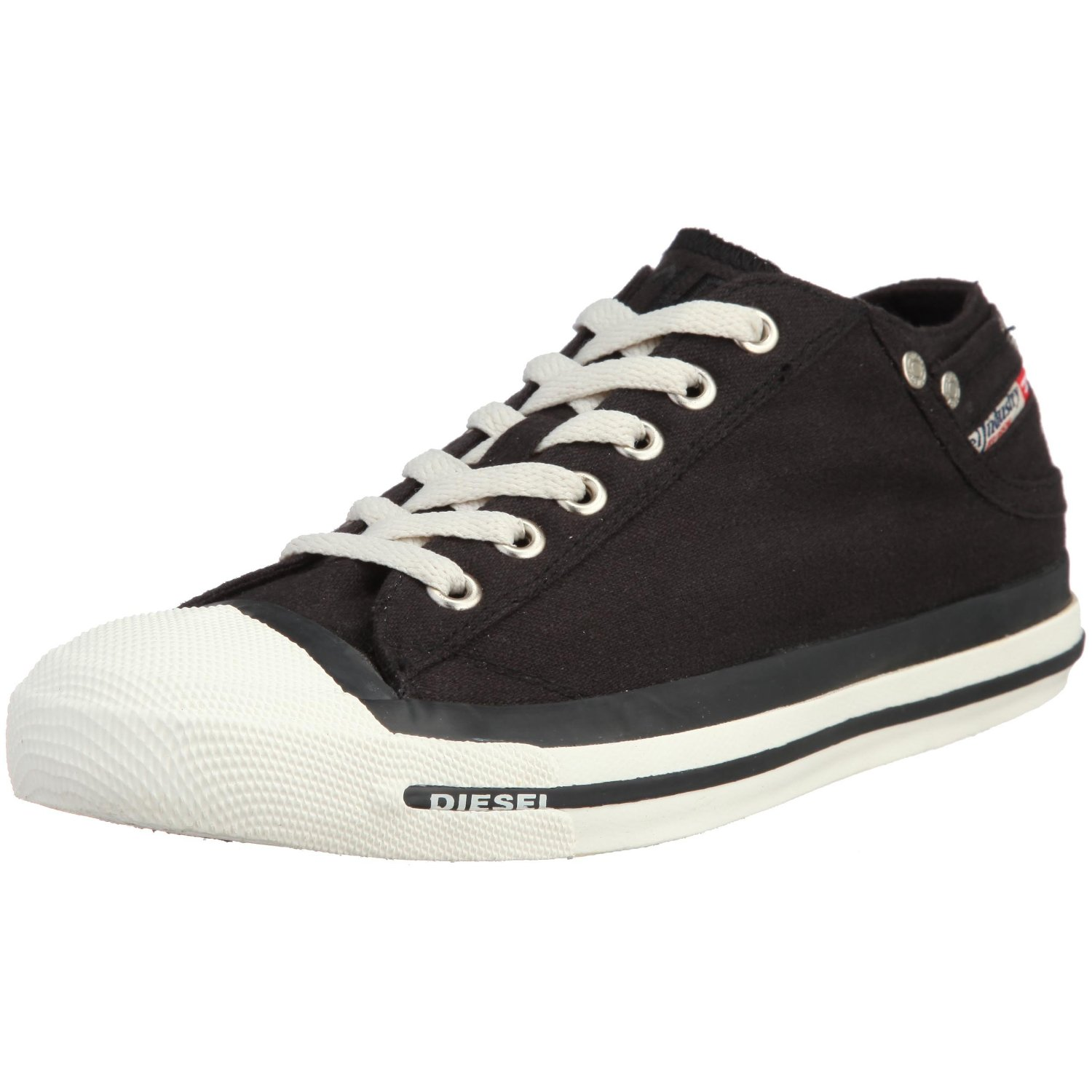 diesel exposure low black white mens canvas new trainers