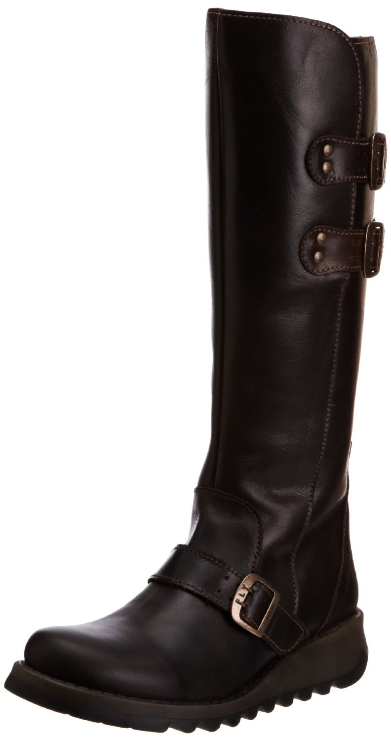 Fly-london-Solv-Dark-Brown-Leather-Knee-Hi-New-Womens-Boots-Shoes