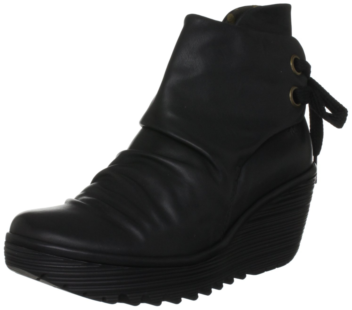 Fly-london-Yama-Black-Leather-New-Womens-Wedge-Ankle-Shoes-Boots
