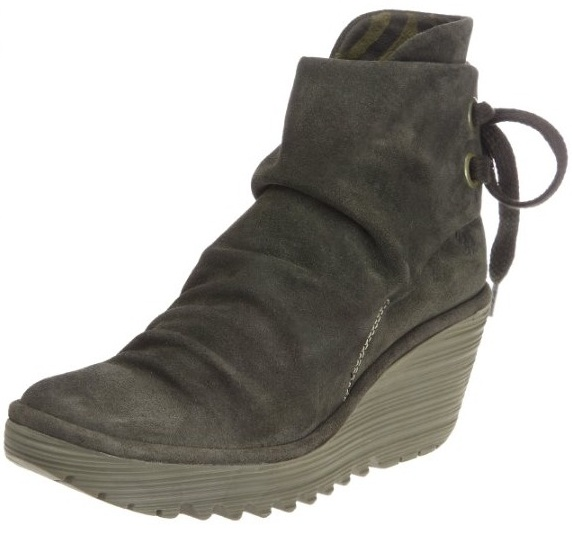 fly yama olive suede new womens wedge ankle