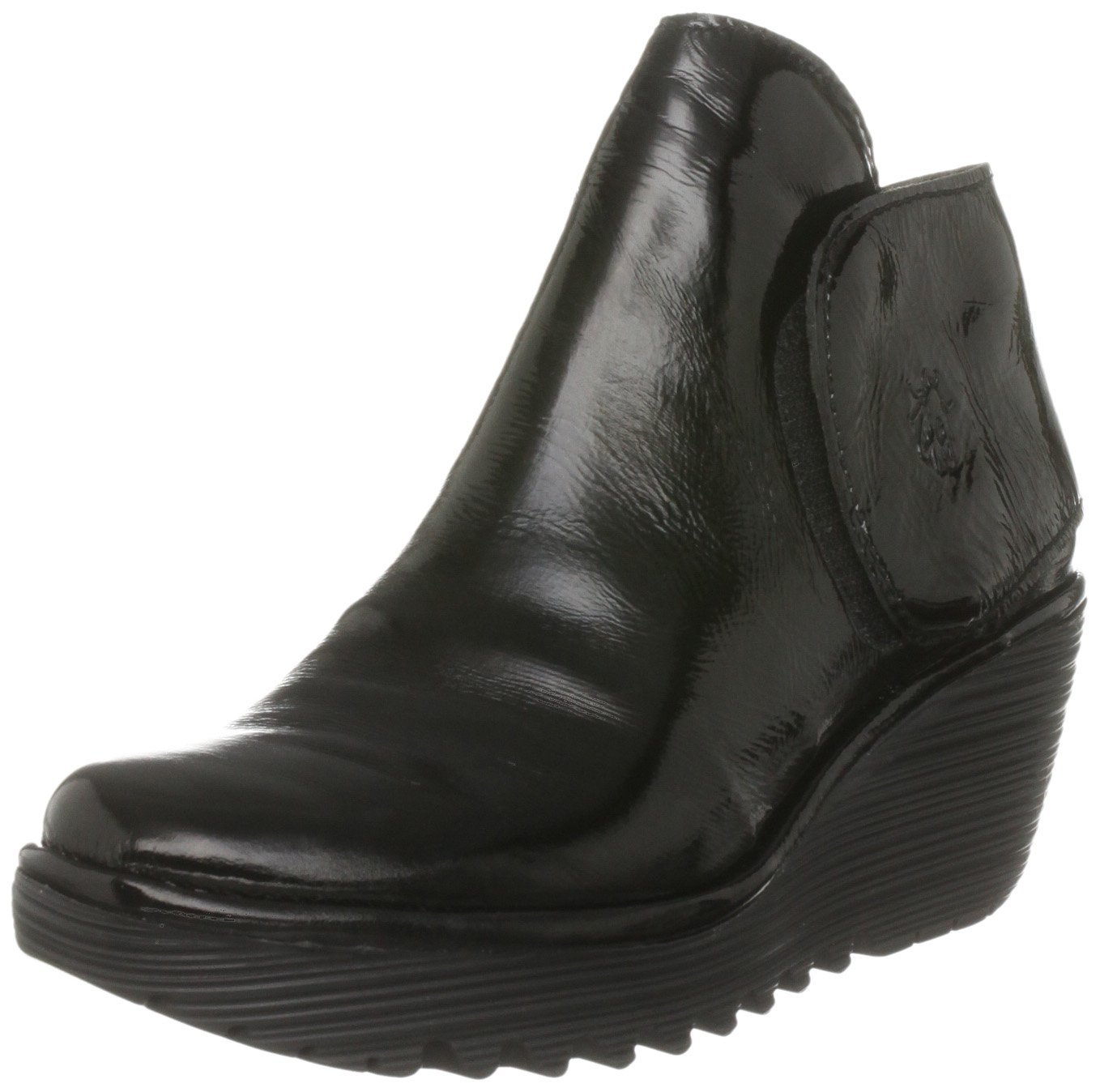 fly yogi black patent leather new womens wedge