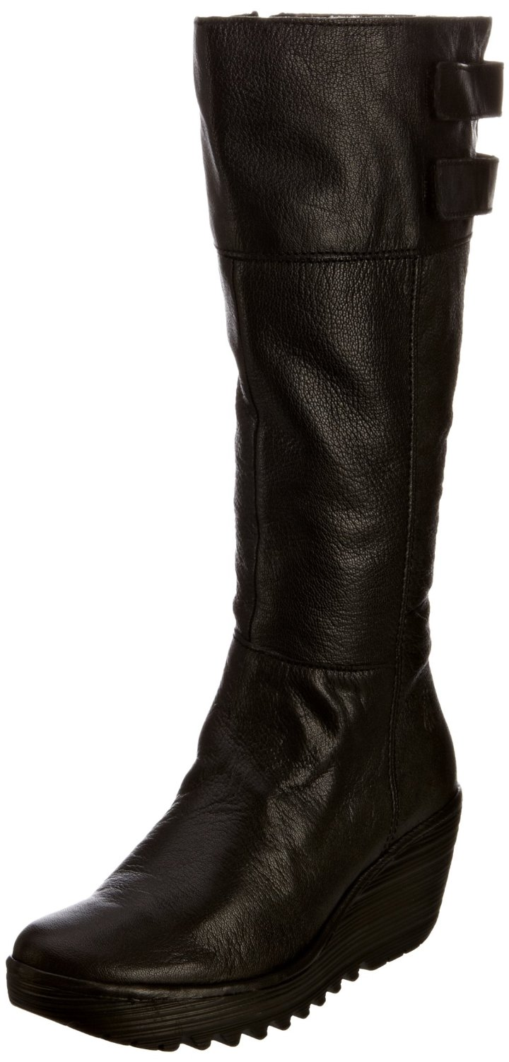 Fly London Womens Yush Black New Leather Long Boots Shoes | EBay