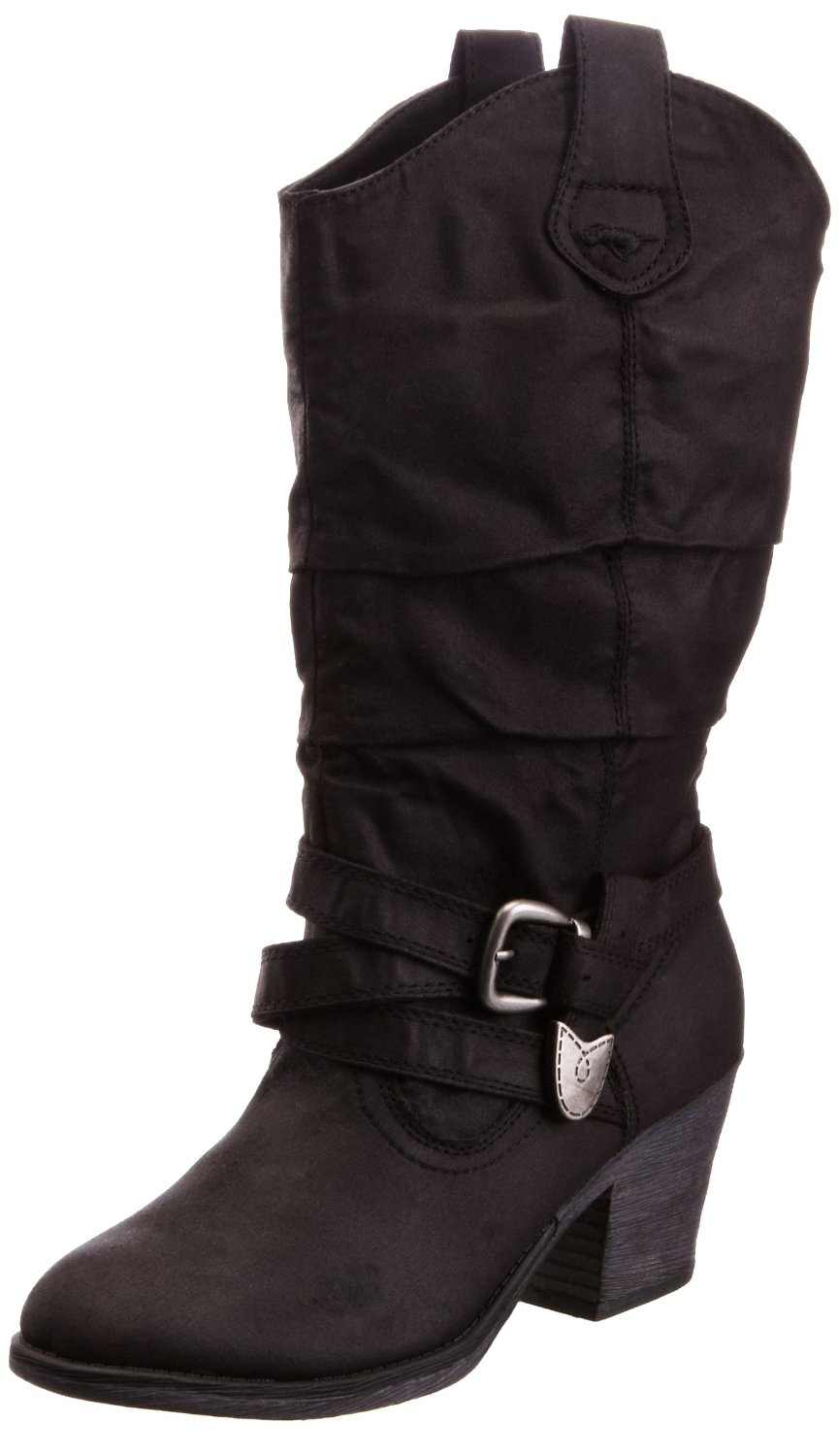 Rocket-Dog-Sidestep-Black-Fabric-New-Womens-Hi-Pull-On-Cowboy-Winter-Shoes-Boots
