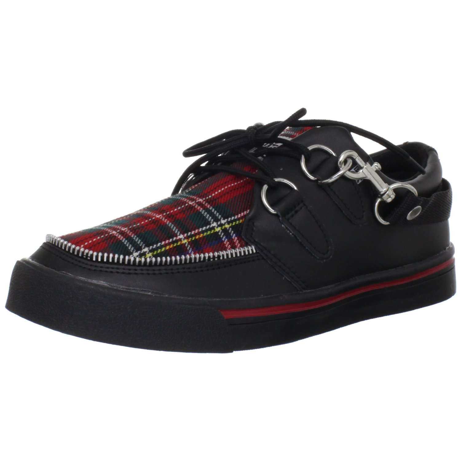 tuk a6155 black tartan plaid leather new mens womens