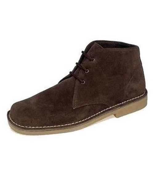 Roamers Mens Suede Dark Brown Mens Desert Boots 378