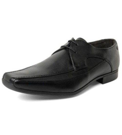 Base London Twist Black Leather Formal Casual Lace Up Shoes