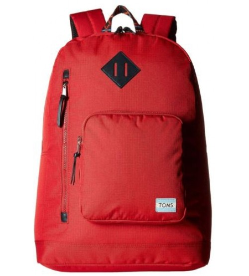 Toms Classic Red Ripstop Nylon Unisex School Bag Backpack