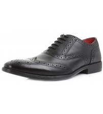 Base London Paprika Black Leather Mens Oxford Brogue Shoes