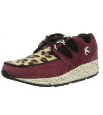Brakeburn Iggy Burgundy Leopard Womens Lo Top Trainers Shoes Boots