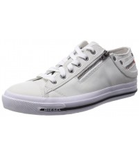 Diesel Expo-Zip Low Off White Leather Mens Trainers Shoes