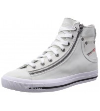 Diesel Expo-Zip Hi Off White Leather Mens Trainers Shoes