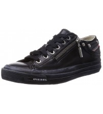 Diesel Expo Zip Black Womens Leather Lo Trainers Shoes