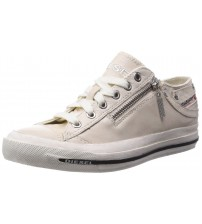 Diesel Expo Zip Off White Womens Leather Lo Trainers Shoes