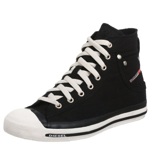 Diesel Exposure Hi Black White Mens Canvas Trainers