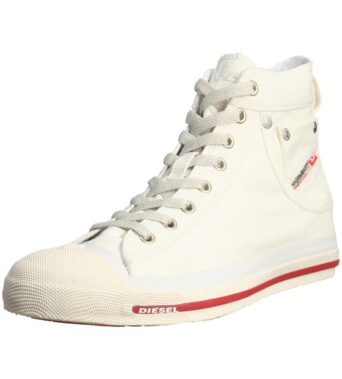 Diesel Exposure Hi Off White Red Womens Canvas Trainers