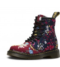 Dr Martens Brooklee Red Floral Toddler Zip Boots Shoes