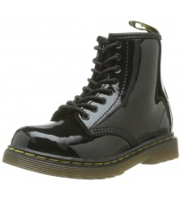 Dr Martens Delaney Black Patent 8 eyelets Kids Leather Zip Boots
