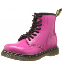 Dr Martens Delaney Pink Patent 8 eyelets Kids Leather Zip Boots