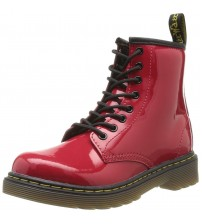 Dr Martens Delaney Red Patent 8 eyelets Kids Leather Zip Boots