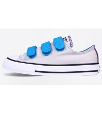 Converse All Star 3 Velcro Grey Blue Kids Canvas Trainers