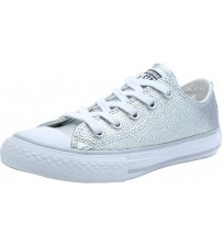 Converse Chuck Taylor All Star Silver Lo Kids Leather Trainers