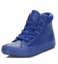 Converse Chuck Taylor All Star Blue Hi Kids Leather Trainers