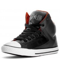 Converse All Star Black White Red Hi Kids Leather Trainers