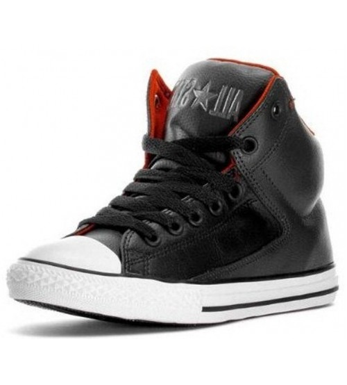 8bf86557696d46 Converse All Star Black White Red Hi Kids Leather Trainers
