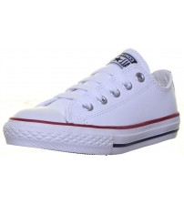 Converse All Star White Red Blue Lo Kids Leather Trainers