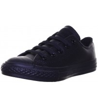 Converse Chuck Taylor All Star Black Lo Kids Leather Trainers