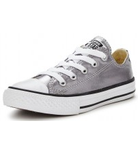 Converse Chuck Taylor All Star Silver White Lo Kids Canvas Trainers
