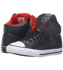 Converse Chuck Taylor All Star Black White Red Hi Kids Leather Trainers