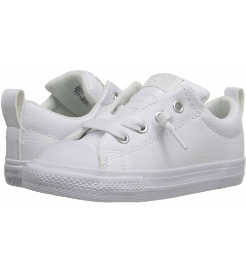 1fadb1c42496 Converse Chuck Taylor All Star Street Slip White Infant Leather Trainers