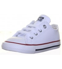 Converse Chuck Taylor All Star White Navy Red Infant Leather Lo Trainers