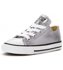 Converse Chuck Taylor All Star Silver White Infant Canvas Lo Trainers