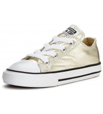 Converse All Star Gold White Infant Canvas Lo Trainers Shoes