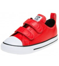 Converse Chuck Taylor All Star Red White Infant Leather Velcro Trainers