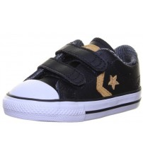 Converse All Star 2 Velcro Black Yellow Infant Leather Trainers