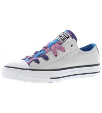 Converse All Star Loopholes Grey Multi Kids Canvas Trainers