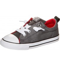 Converse All Star Street Slip Grey Red Infant Canvas Trainers