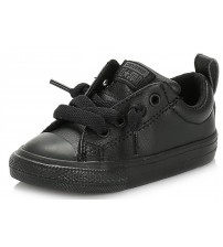 Converse All Star Street Slip Black Infant Leather Trainers