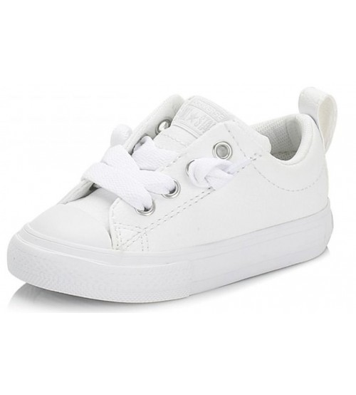 80160b4664bc91 Converse All Star Street Slip White Infant Leather Trainers