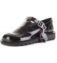 Kickers Kick Lo Black Patent Leather Kids Mary Janes School Shoes