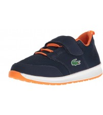 Lacoste L.IGHT 217 Navy Orange Kids Suede Trainers Shoes