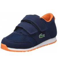 Lacoste L.IGHT 217 Navy Orange Toddler Suede Trainers Shoes