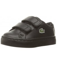 Lacoste Straightest Black Todlders Leather V Trainers Shoes