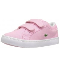 Lacoste Straightest Pink Toddlers Canvas Velcro Trainers Shoes