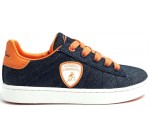 Lamborghini Competition Denim Orange Kids Leather Trainers Shoes