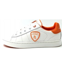 Lamborghini Competition White Orange Kids Leather Trainers Shoes